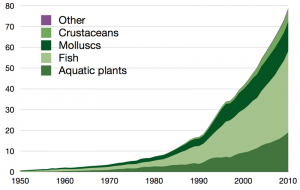Die Entwicklung der globalen Aquakultur Produktion von 1950 bis 2010 ist enorm. https://commons.wikimedia.org/wiki/File:Global_ aquaculture _production.png