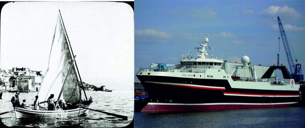 Fischerboote früher und heute – wie viele andere Sektoren auch, hat sich die Fischerei-Produktion in den letzten 150 Jahren enorm gesteigert. (Quelle:http://commons.wikimedia.org)