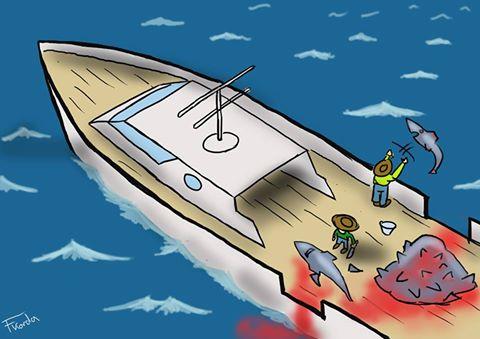 Beim FINNING werden den Haien oft beim lebendigen Leibe und in vollen Bewusstsein die Flossen abgeschnitten. Die Körper werden einfach wieder ins Meer geworfen, um Platz zu sparen. Dort können die Haie noch mehrere Stunde überleben und sterben einen langsamen und qualvollen Tod!