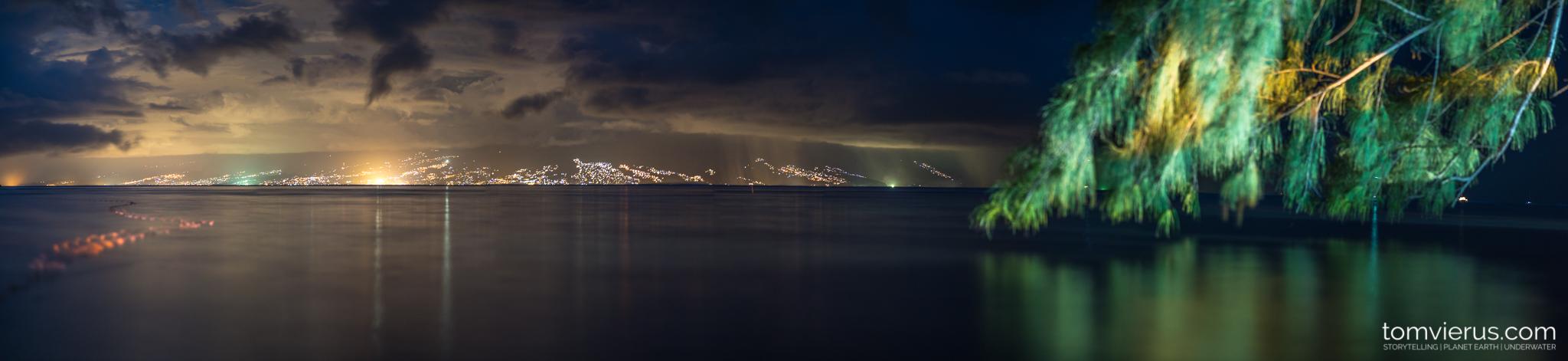 Panorama, Papeete, Moorea, French Polynesia, Night